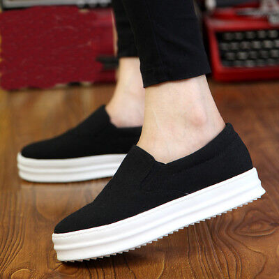 Women's Platform Loafers Sneaker Skateboard Sport Slip On Shoes Hidden Wedge !~