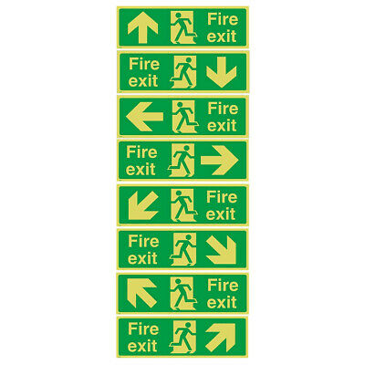 Fire Exit 360x140cm Sticker OR Rigid Plastic Sign Emergency, Exit, BS Safety NEW