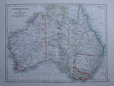 1916 Map ~ Australia Victoria New South Wales Queensland