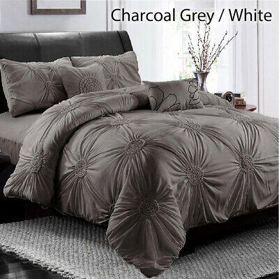 Diamond Embroidery Pintuck Pinch Pleated Duvet Doona Quilt Cover Set All Size