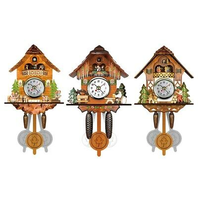 2X(Antique Wooden Cuckoo Wall Clock Bird Time Bell Swing Alarm Watch Home A T7P9