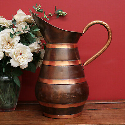 Antique French Jug, Water Pitcher, Beaten Copper and Copper Banding and Handle