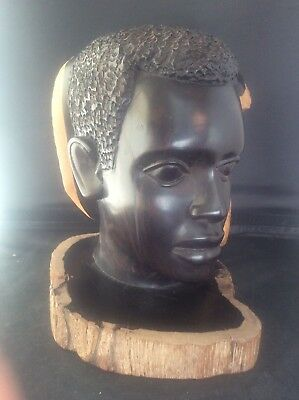 Superb Makonde African Ebony Wood Carving Sculpture Carved Head Face Statue