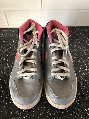 Pre-Loved - NIKE Girls High Top Grey/Pink Trainers UK 4/EU 37