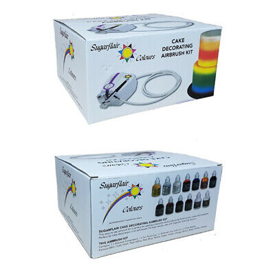 Sugarflair Professional Cake Decorating Airbrush Kit with 12 x Airbrush Colours