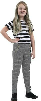 Girls Kids Children Paper Bag Pant Button Check Hound Tooth Trousers Leggings