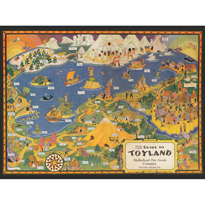 The Guide to Toyland Children/'s Fairy Tales 1940 Vintage Pictorial Map Print