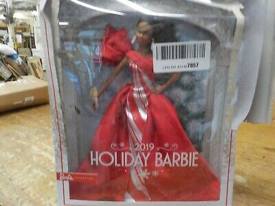 2019 Holiday Barbie Doll, Brunette Curly Ponytail