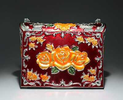Collect China Old Cloisonne Hand-Carved Bloomy Flower Delicate Noble Jewel Box