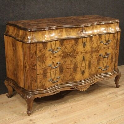 Commode dresser furniture chest of drawers in walnut wood antique style bedroom