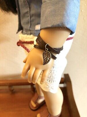 Leather Wrap Leaf Charm Bracelet for 18 Inch American Girl Doll Jewelry