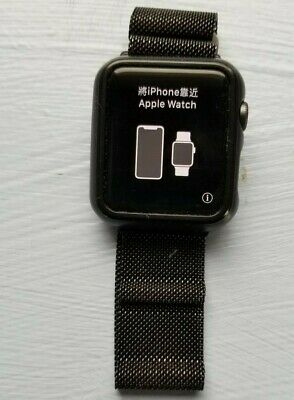 AppleWatch Series 3 42mm Space Gray + box, metal band, case -- exc. condition