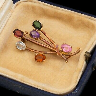 Antique Vintage Art Deco 18k Rose Gold Chinese MINGS Tourmaline Spray Pin Brooch
