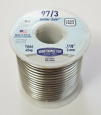 In Dia 0.125 1lb 3.2mm WORTHINGTON 331846 Leaded 30//70 Acid Core Solder