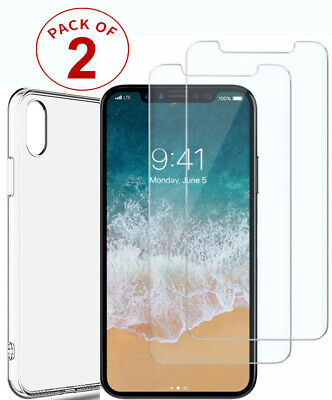 Tempered Glass Screen Protector & TPU Case Cover For iPhone X XS Max XR 11 11Pro