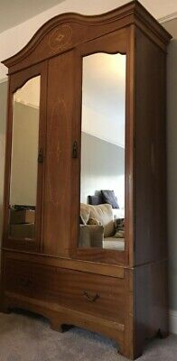 Edwardian Double Wardrobe Mirrored With Inlaid Marquetry