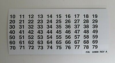 AMS Number Selection Label Sheet of 10-79 - white
