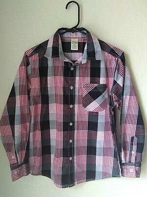 Faded Glory Boys Red Black Grey Plaid Button Up Shirt Size 14/16 EUC
