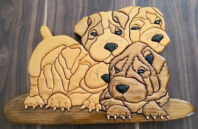 """Shar Pei Wood Wall Plaque Jig Saw Puzzle Hand Carved 16"""" X 10"""" X 1"""" Hanger Dogs"""