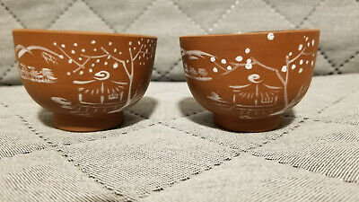 Two Chinese Yixing Zisha Clay Tea Cups With White Glaze Scenic Paint