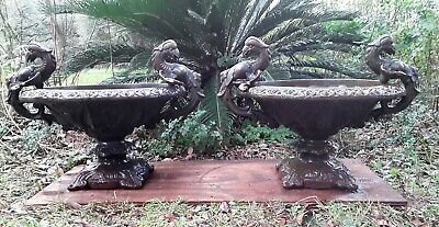 "Pair of Large Ornate Vintage Cast Iron Garden Urns Griffins 26.5"" W x 19"" H"