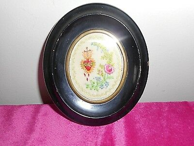 Early 19th Century French devotional embroidered framed oval picture.