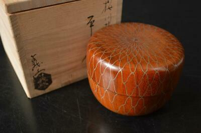 A6959:Japan Wooden Lacquer ware TEA CADDY Natsume Chaire Container w/signed box