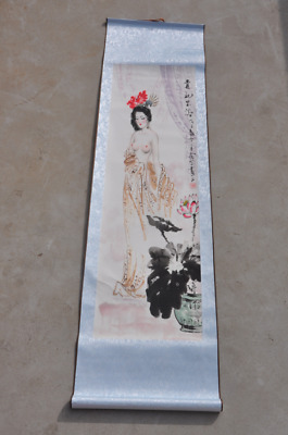 Old Chinese Painting beautiful belle Yang Yuhuan Central scroll painting /Wb02