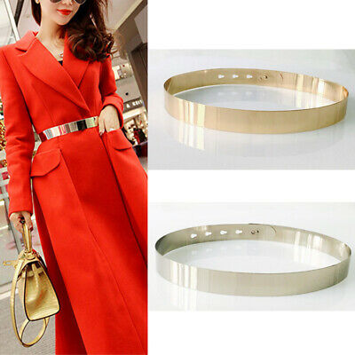 Fashion Women Adjustable Metal Waist Belt Metallic Bling Gold Silver Slim Belts