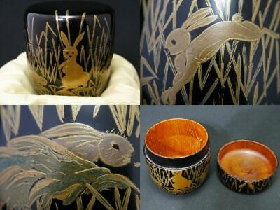 Japanese Lacquer Wooden Tea caddy Wild Rabbits design in makie Chu-Natsume (109)