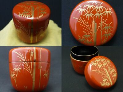 Japanese Lacquer Wooden Tea caddy Bamboo design in makie Natsume (109)