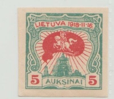 Lithuania 1920 2nd Anniversary Independence Issue Mi 75A SC 80A Impf MNH 5 SK
