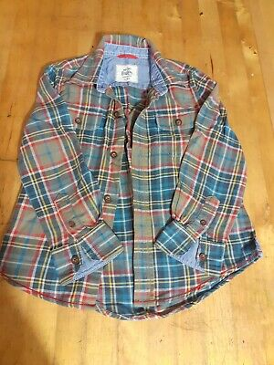 Mini Boden Boys Check Shirt. Age 3-4. Beige,blue,red.