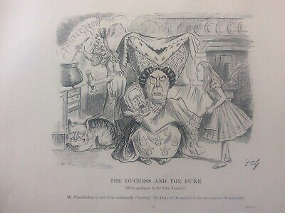 Antique 1903 Political Caricatures Drawings Print Alice in Wonderland Duchess