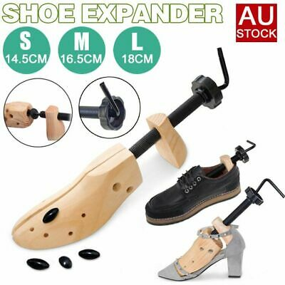 2Pc 2-Way Wooden Shoes Stretcher Expander Shoe Tree Unisex Bunion Plugs AU STOCK