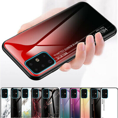 For Samsung S20 Plus Note 10 A51 A71 Marble Gradient Tempered Glass Case Cover