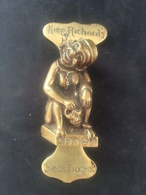 RARE Antique Vintage Brass Door Knocker King Richards House Scarboro Scarborough