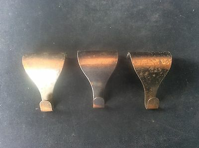 3 Copper Coppered Vintage Edwardian Early c20th Brass Picture Hooks