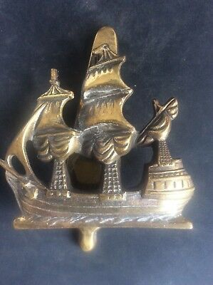 c1915 Antique Vintage Solid Brass Door Knocker Galleon Sailing Ship Tall Masts