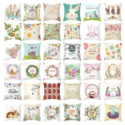 """18"""" Spring Easter Bunny Flower Egg Pillow Case Couch Cushion Cover Home Decor"""