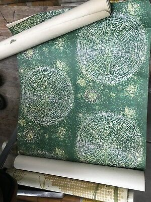 Vintage 60s 70s Retro West Germany Green Starburst Wallpaper Roll Mid Century