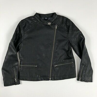 Gap Girls Faux Leather Moto Style Jacket Zipper Front, size Small 6-7