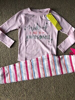 Joules Girls Pyjamas Age 6 Years Pink Striped Wake Up And Be Awesome