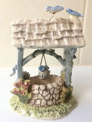 2004 Blue Sky Clay Works Bluebird Wishing Well Tea Light Candle Holder Figurine