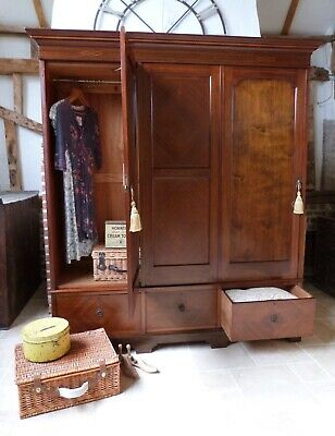 Pretty Edwardian mahogany inlaid triple double wardrobe with 3 drawer base
