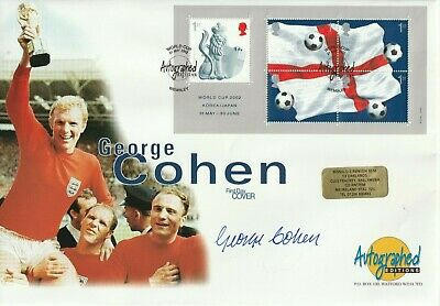 21 MAY 2002 WORLD CUP FOOTBALL M/SHEET FDC HAND SIGNED BY GEORGE COHEN SHS c