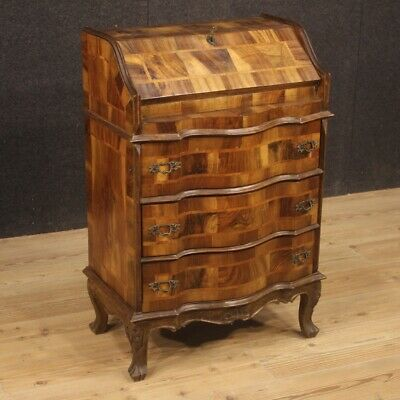Bureau furniture writing desk secrétaire commode in walnut wood antique style