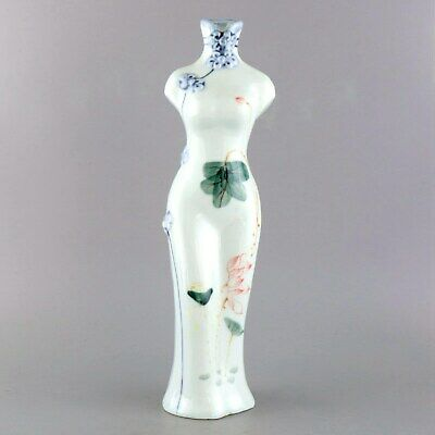 Collect China Old Porcelain Hand-Paint Bloomy Lotus Cheongsam Statue Flower Vase