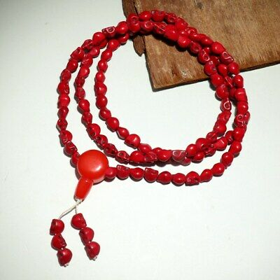 Collect China Old Red Coral Hand-Carved Terrible Skull Delicate Decor Bracelet
