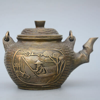 Collectable China Old Bronze Hand-Carved Fisherman Delicate Unique Noble Tea Pot